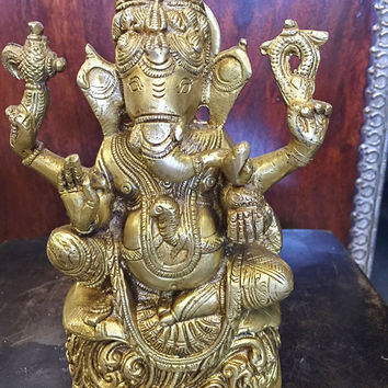 Ganesha Statue Spiritual Indian Art Sculpture Hindu Decor Brass Figurine 6.5""