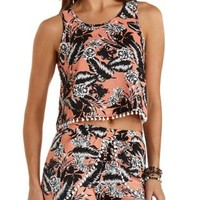 Pom-Pom Trim Tropical Print Crop Top by Charlotte Russe