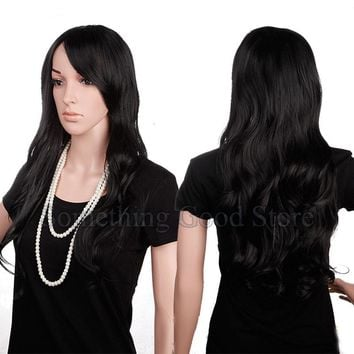 """Snoilite 25"""" Long Curly 3/4 Half Wig Synthetic for Women Daily Party Hair Wigs Natural Black"""