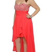 Plus Size Long Prom Dress with Stone Bodice and High Low Tulip Skirt