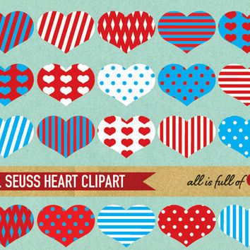 Heart Clip Art RED and BLUE Dr SEUSS Theme in stripes and polka dots Digital File with Instant Download
