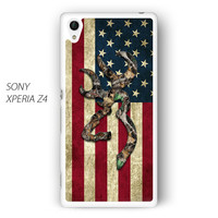 Browning Deer Camo American Flag Wood for Sony Xperia Z1/Z2/Z3 phone case