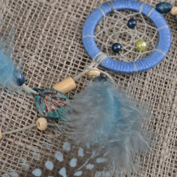 Handmade designer keychain Indian amulet Dreamcatcher with feathers