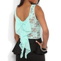 Peplum Dress with Daisy Lace Bodice and Bow Back