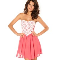 Asoidchi Ladies Pink Lace Wrapped Chest Dresses Size One:Amazon:Clothing