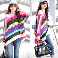 Womens Chiffon CrewNeck Off Shoulder Batwing Sleeve Stripe Casual Tops Blouse = 1945648132