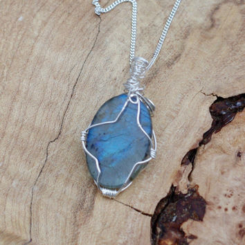 Labradorite Stone Pendant on a Sterling Silver Chain ~ Gray Blue Iridescent Stone ~ Sterling Silver Hand Wired Necklace ~ Canadian Gemstone