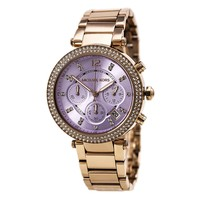 Michael Kors MK6169 Women's Parker Crystal Accented Bezel Purple Dial Chronograph Watch