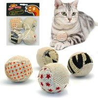 4pcs/pack Ball Cat Toy Interactive Cat Toys Play Chewing Rattle Scratch Catch Pet