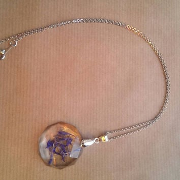 Dried Pressed Flower Necklace (Diamond Shaped) - resin, silver plated chain