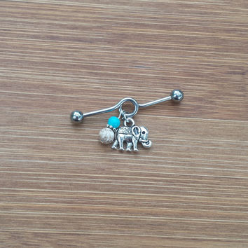 Elephant - Howlite & Turquoise - Industrial Barbell Piercing 14G