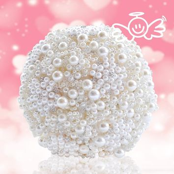 Pearls artificial bouquet handmade crystal brooch bouquet wedding flowers bridal bouquets