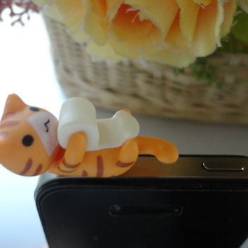 SALE30-70%OFF: Cute orange cat playing with paper iPhone Plug . Dust Plug . Phone Plug . Phone Charm Panda, Kawaii, Lovely, Girly, Cat