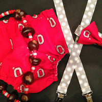 Buckeye Diaper Cover with Suspenders, Ohio State Baby Boy Set, Ohio State Smash Cake Outfit