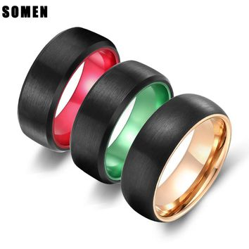 8MM Men Tungsten Carbide Ring Brushed Design Green /Red / Rose Gold/ Inlay Romantic Wedding Band Engagement Rings bague homme