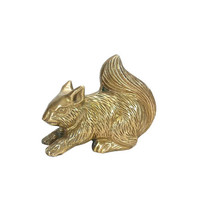 Brass Squirrel Figurine Vintage Woodland Animal Statue Paperweight Collectible Home Office Desk Mantle Bookshelf Knickknack Gold Decor