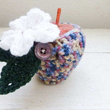 Apple cozy, crochet cozy, apple cozy multi, crochet apple cozy, teacher's gift, teacher's swag, back to school, ready to ship, hand crochet