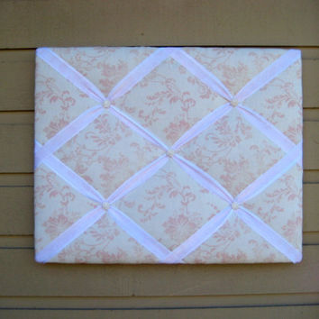 French Photo Memory Board, Damask Memo Board, Pink and White, double ribbons with Pearl White buttons