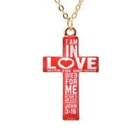 Folk Art Pure and Colorful Cross Necklace