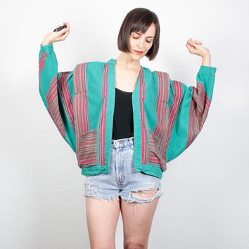 Vintage Batwing Jacket Teal Green Pink Orange Striped Bomber Jacket Dolman Sleeve Baja Jacket Boho Hippie Grunge Blazer Jacket S M Medium L