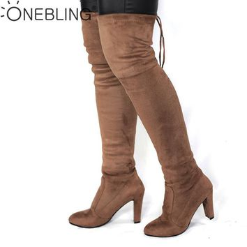 Spring Autumn Woman Boots Fashion Thigh High Heel Boots Sexy Over the Knee Stretch Sil