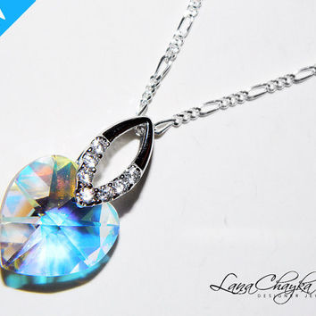 Wedding Mother of The Bride Gift Necklace Swarovski Aurora Borealis Heart Crystal Pendant 925 Sterling Silver Cubic Z FREE US Shipping
