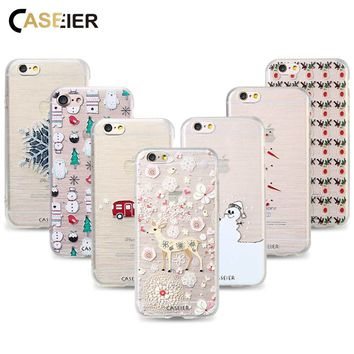 CASEIER Phone Case For iPhone 5 5s SE 6 6s 7 8 Plus Case Christmas New Year Pattern Case For iPhone 5 5s SE 6 6s 7 8 Plus Cover