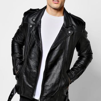 Black Real Leather Biker Jacket | Boohoo