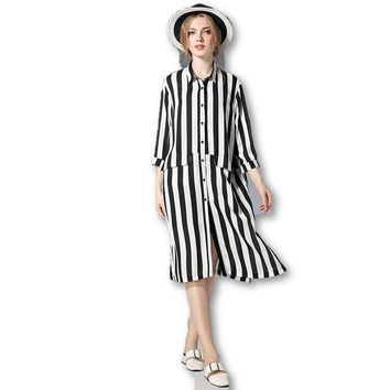 Spring Chiffon Black And White Stripe Loose Three Quarter Sleeve Shirt Dress