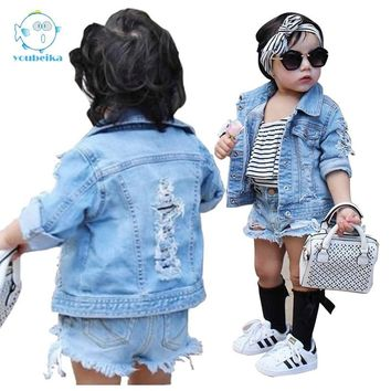 Toddler Boys Jean Jackets Denim For boy Girls Coats Kids Girl Jackets Coat Casual Baby Girl Denim Jackets Children Holes Clothes