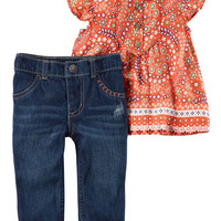 2-Piece Flutter-Sleeve Tunic & Denim Pant Set