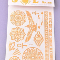 Gold Metallic Temporary Tattoos, Large Sheet - Egyptian, Feathers or Geometric Bands