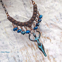 Fertility Goddess necklace Patina Copper Bohemian jewelry