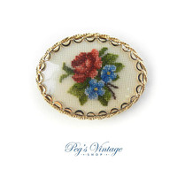 Vintage Petit Point Flower Brooch / Pendant, Oval Gold Pin Floral Jewelry, Handmade Embroidered 1960s Brooch Pin