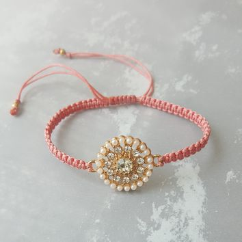 Pearls and Bling Macrame Friendship Bracelet