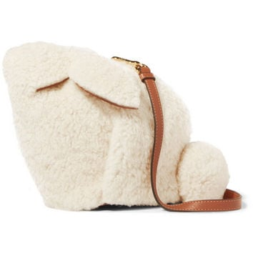 Loewe - Bunny leather-trimmed shearling shoulder bag