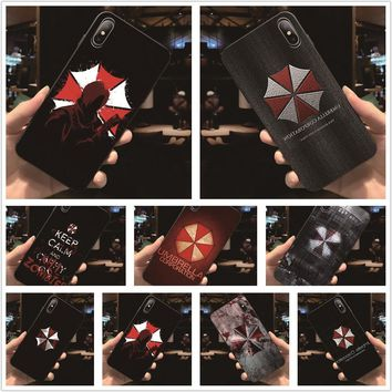 Fatperson Black Frame cover Resident Evil Umbrella Corporation design Phone cases For iphone X 7 8 Plus 5 5S 6 6S 7Plus