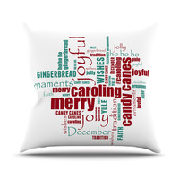 "Sylvia Cook ""Yuletide"" Christmas Typography Outdoor Throw Pillow"