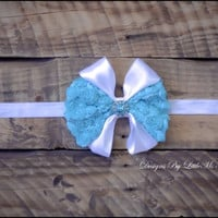 "Newborn, Baby Girl, Little Girl, Toddler, Headband, Tiffany Blue, ""Divinely Happy"", Hair Accessories, Infant Photo Prop"