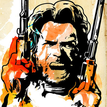 CLINT EASTWOOD, Western decor, outlaw, cowboy, stencil, graffiti style, art print, illustration available in multiple sizes.