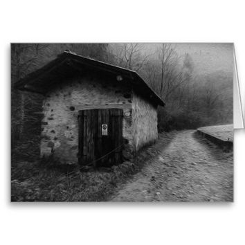 Black and White Silent Hill Oil Painting Card