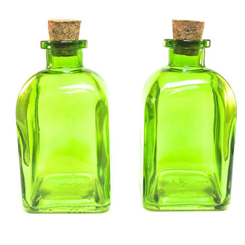 2 Roma Glass Bottles with Corks, 250ML 8.5 ounce, Reed Diffuser Bottle, Terrarium, Bath Salt, Spices, Candy Jar, Lime Green Glass Container
