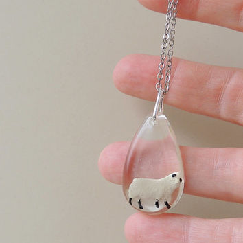 Sheep Necklace. Miniature Sheep in Resin Pendant, Animal Jewelry,  Sheep Jewellery, Farm Animal Jewellery  (1537)