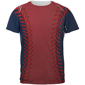 Baseball League Red and Navy Blue All Over Mens T Shirt