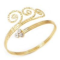 Gold Plated Textured Crystal 'Twirly' Upper Arm Bracelet Armlet: Jewelry