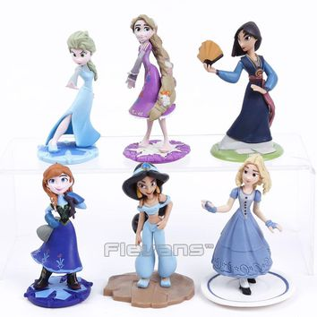 Queen Elsa Princess Anna Mulan Jasmine Rapunzel PVC Figures Dolls Girls Toys Gifts 6pcs/set 10cm