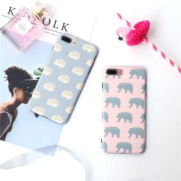 Cute Polar Bear painted case For iphone 7 7plus 8 8plus Hedgehog soft silicon case for iphone 6 6s 6plus 6splus protective case