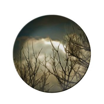 Decorative Porcelain Plate Sky Tree Branches Cloud