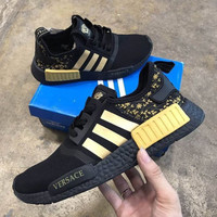 Versace x Adidas NMD_R1 Black/Gold Sneakers Trending Running Sports Shoes