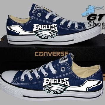 Hand Painted Converse Low. Philadelphia Eagles. Football. Handpainted Shoes.
